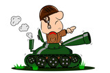 A cartoon army soldier in the turret of a tank