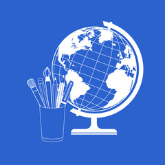 Vector globe and school supplies
