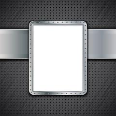 Blank metal panel or metallic advertising banner