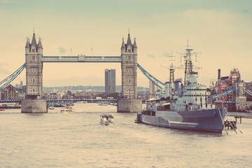 Tower Bridge, Thames river and HMS Belfast in London