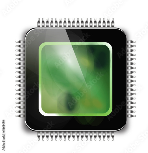 CPU - Computer chip or microchip. Stylized icons..