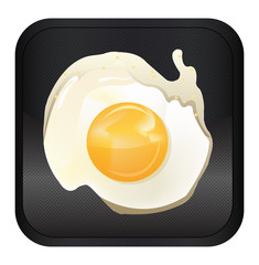Fried egg app icon, vector