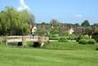 bridge over river, Hever Castle garden, Kent, UK