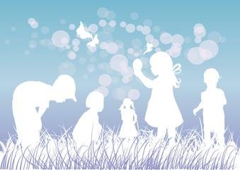 Eier suchen,Kinder,Wiese,Shilhouette,Vektor,blau,lila