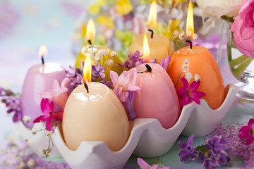 Easter candles and flowers