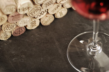 Corks and red wine