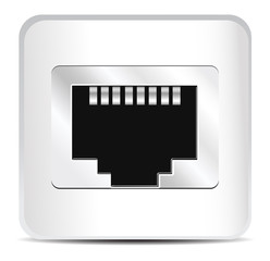 Shiny Network Port Icon. Vector Illustration of Socket