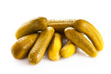 Tasty pickled cucumbers on isolated background.salty  traditiona