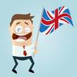 großbritannien mann fahne schwenken