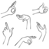 Hands lines icons in a realistic poses