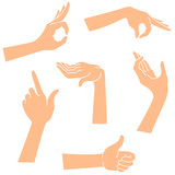 Hands icons in a realistic poses