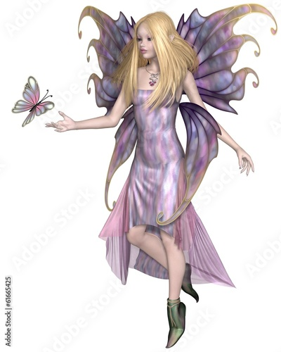 Purple Fairy with Butterfly