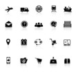 Logistic icons with reflect on white background