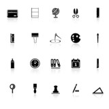 General stationary icons with reflect on white background