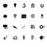 Education icons with reflect on white background