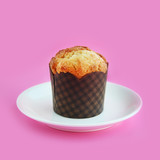 Muffin on a pink background
