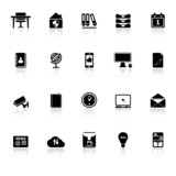 Home office icons with reflect on white background