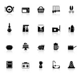 Home kitchen icons with reflect on white background