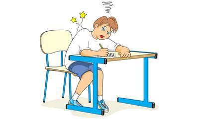 Estudante postura errada