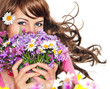 canvas print picture - it's spring 17 / girl with flowers isolated on white