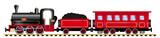 passenger train with steam locomotive