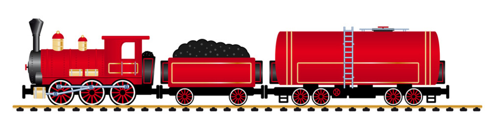red steam locomotive with tank wagon