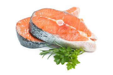 Fresh raw salmon fish steak