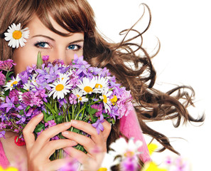 it's spring 17 / girl with flowers isolated on white