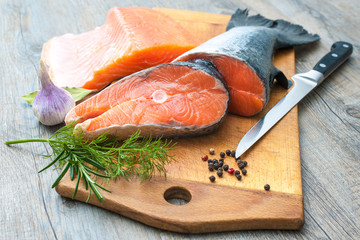 Raw salmon fish steaks