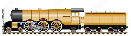 gold steam locomotive with wagon