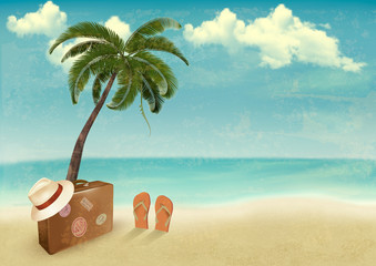 Vintage seaside background with suitcase and a hat. Vector illus
