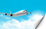 Travel background with an airplane and a bent corner. Vector.