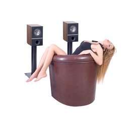 Attractive sexy woman enjoys listening to music