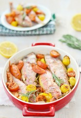 baked surmullet with cherry tomatoes,garlic and rosemary