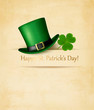 Saint Patrick's Day background with clove leaf and green hat. Ve