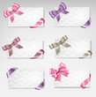 Set of beautiful gift cards with colorful gift bows with ribbons