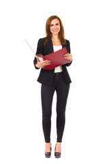Cheerful businesswoman with ring binder.
