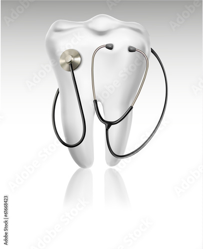 Medical background with tooth and a stethoscope. Concept of diag