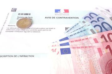 contravention et argent