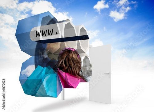 Composite image of online shopping on abstract screen