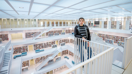Man in Stuttgart library