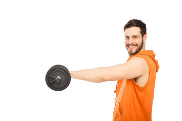 smiling man lifting dumbbell