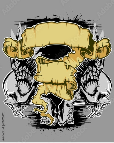 scroll with angels skull