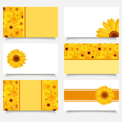 Six business cards with gerbera flowers. Vector EPS-10.
