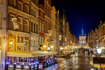 Long Street and Golden Gate at night in Gdansk, Poland.