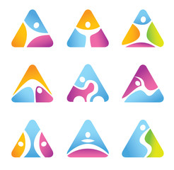 Set of triangular fitness symbols and icons