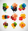 Geometrical shaped infographic option banners