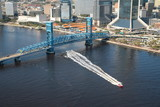 Blue Bridge and Boat Downtown Jacksonville Florida