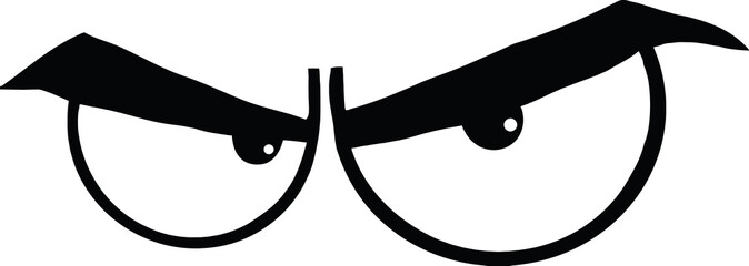 Black And White Angry Cartoon Eyes