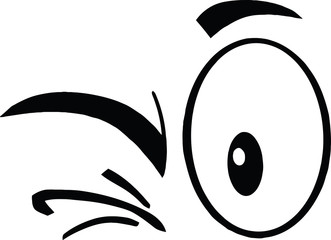 Black And White Winking Cartoon Eyes